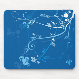 Flowers on Blue - Mousepad