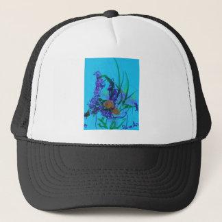 Flowers on Blue Trucker Hat