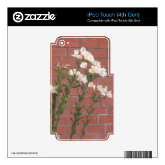 Flowers on Brick Skins For iPod Touch 4G