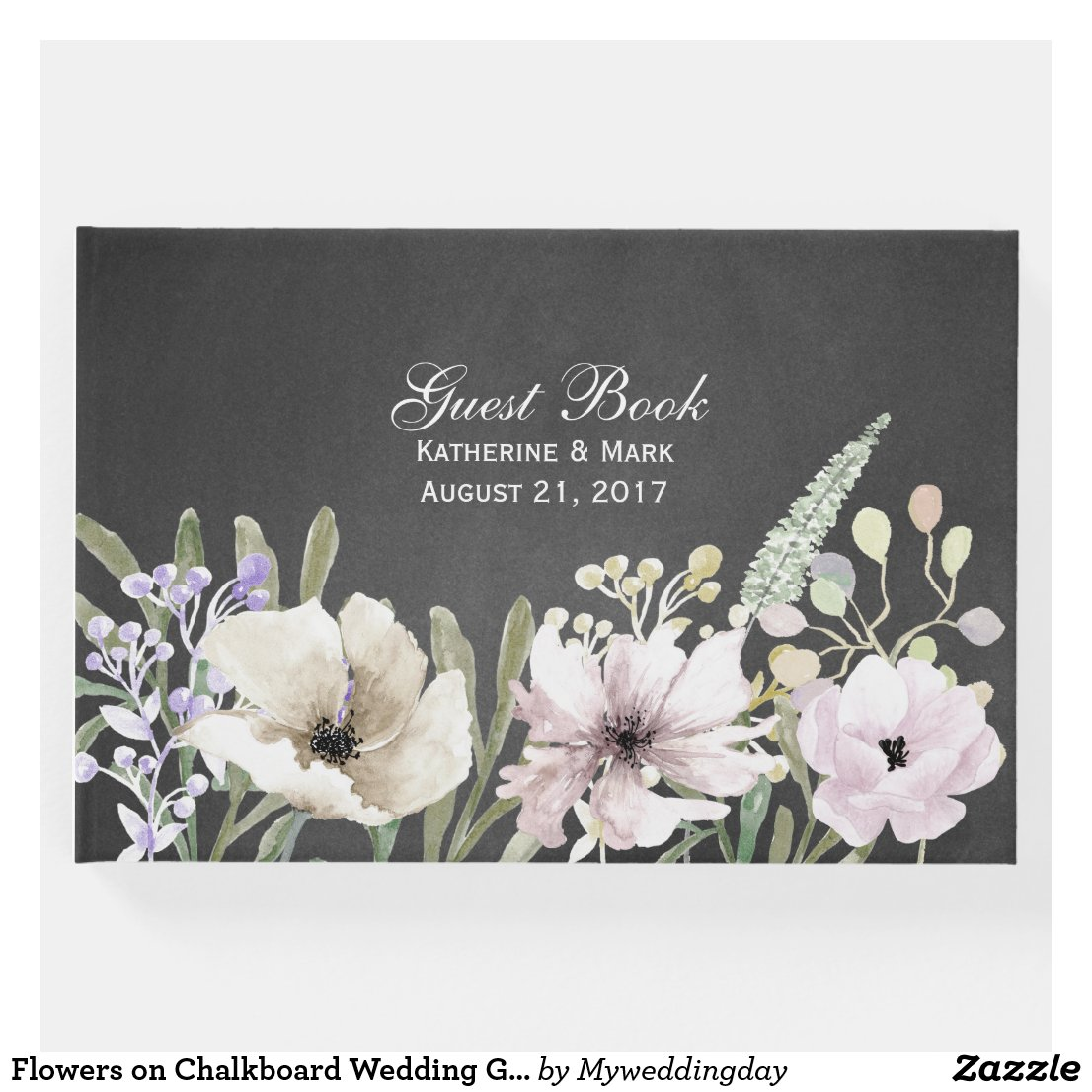 Flowers on Chalkboard Wedding Guest Book