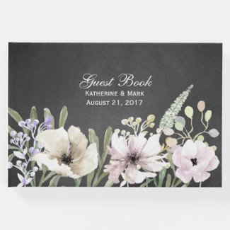 Flowers on Chalkboard Wedding Guest Book