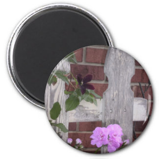 Flowers on Fence Magnet