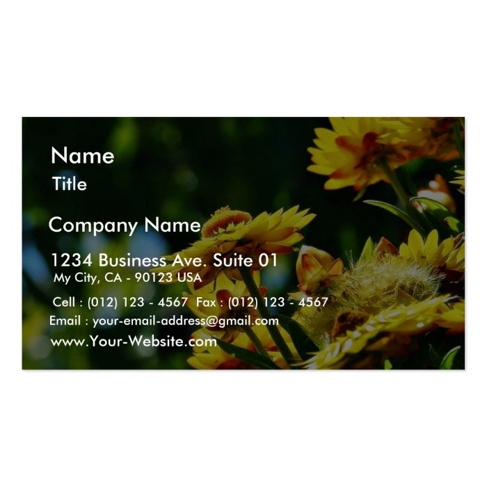 Flowers On Grass Business Card