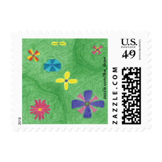 Flowers on Grassy Hills Postage Stamps