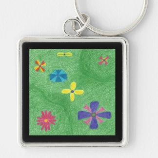 Flowers on Grassy Hills Premium Keychain