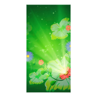 Flowers on green background picture card