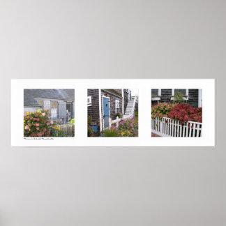Flowers on Nantucket, Massachusetts Triptych Poster