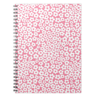 Flowers on pink spiral notebook
