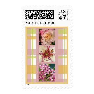 Flowers on Plaid Postage Stamp