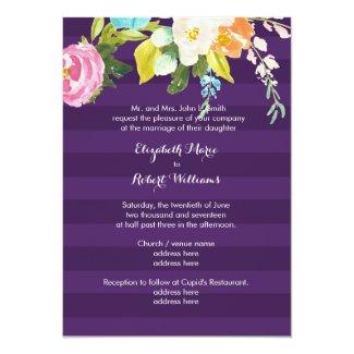 Flowers on Purple Stripes 5x7 Paper Invitation Card