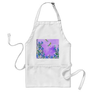 Flowers on purple with dragonflies adult apron