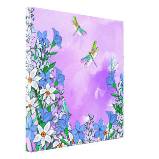 Flowers on purple with dragonflies canvas print