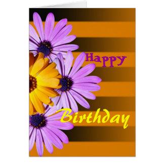 Flowers on stripes Happy Birthday card