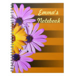 Flowers on stripes notebook