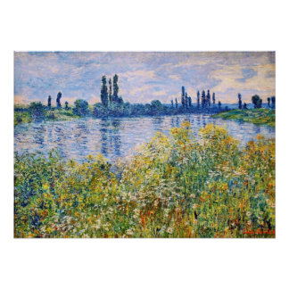 Flowers on the Banks of the Seine River Fine Art Poster