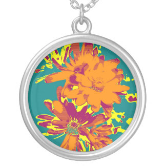 Flowers on the blue background silver plated necklace