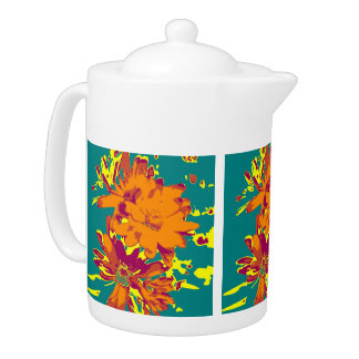 Flowers on the blue background teapot