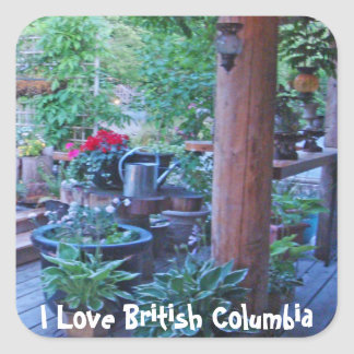 Flowers on the Deck in BC Square Sticker