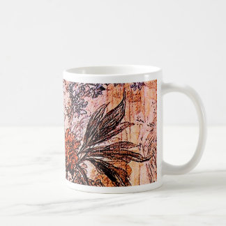 Flowers on the table drawing. coffee mug
