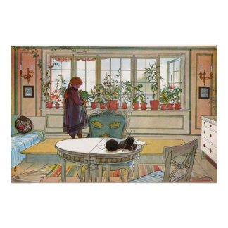 Flowers on the Window Sill by Larsson Poster