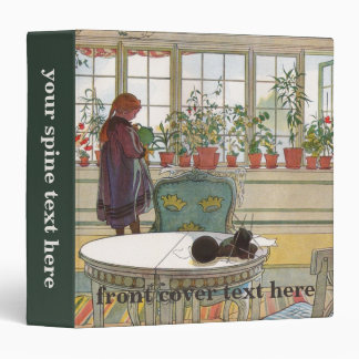 Flowers on the Windowsill by Carl Larsson 3 Ring Binder