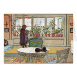 """""""Flowers on the Windowsill"""" by Carl Larsson Art Greeting Cards"""