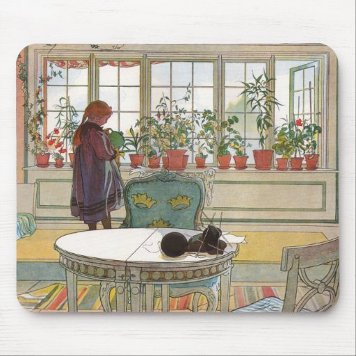 """""""Flowers on the Windowsill"""" by Carl Larsson Art Mouse Mats"""