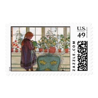 Flowers on the Windowsill by Carl Larsson Art Postage