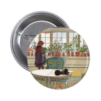 """""""Flowers on the Windowsill"""" by Carl Larsson Pinback Button"""