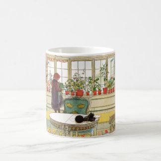 Flowers on the Windowsill by Carl Larsson Classic White Coffee Mug