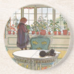 Flowers on the Windowsill by Carl Larsson Coaster