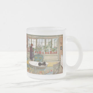 Flowers on the Windowsill by Carl Larsson Frosted Glass Coffee Mug
