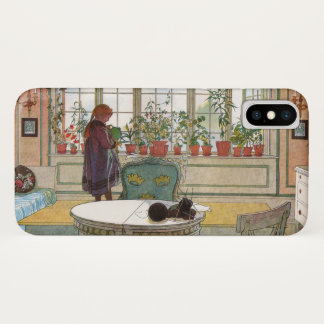 Flowers on the Windowsill by Carl Larsson iPhone X Case