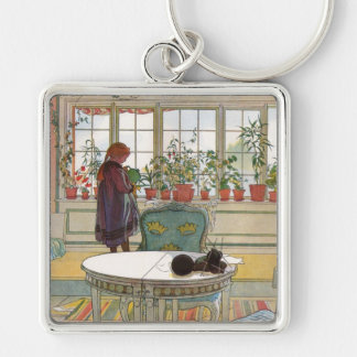 Flowers on the Windowsill by Carl Larsson Silver-Colored Square Keychain