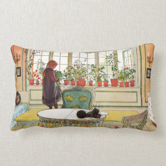 Flowers on the Windowsill by Carl Larsson Lumbar Pillow
