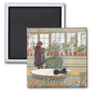 Flowers on the Windowsill by Carl Larsson Magnet
