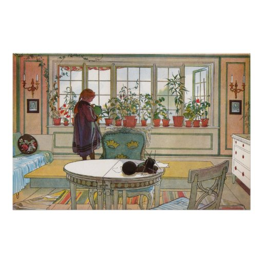 Flowers on the Windowsill by Carl Larsson Posters