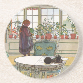 Flowers on the Windowsill by Carl Larsson Sandstone Coaster