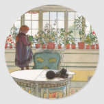 Flowers on the Windowsill by Carl Larsson Classic Round Sticker