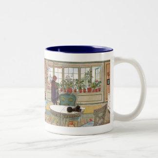 Flowers on the Windowsill by Carl Larsson Two-Tone Coffee Mug