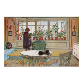 Flowers on the Windowsill, Carl Larsson Poster