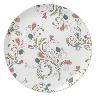 Flowers on White Plates