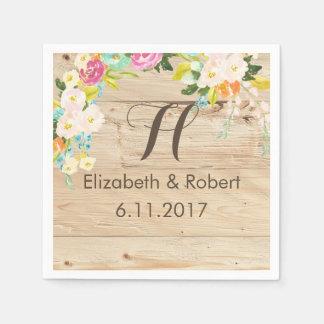 Flowers on Wood Light Paper Napkin