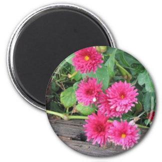 Flowers on Wood Magnet