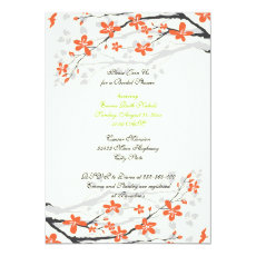 Flowers orange lime green bridal shower invitation 5