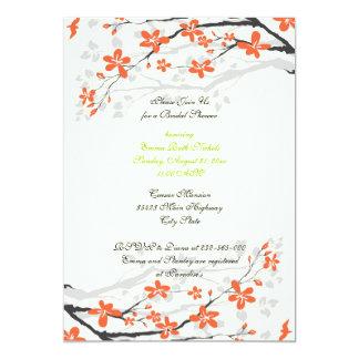 "Flowers orange lime green bridal shower invitation 5"" x 7"" invitation card"