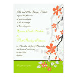 Flowers orange lime green wedding invitation invites