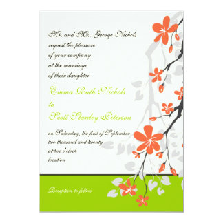 Flowers orange lime green wedding invitation invites