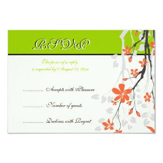 Flowers orange lime green wedding RSVP card