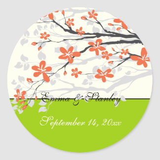 Flowers orange lime green wedding Save the Date Classic Round Sticker